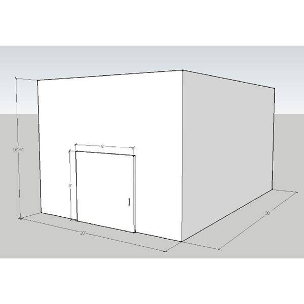 "20' x 30' x 16'4""H Drive-In Cooler"